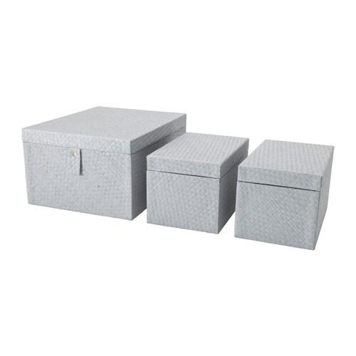 batting karton 3er set grau ikea. Black Bedroom Furniture Sets. Home Design Ideas
