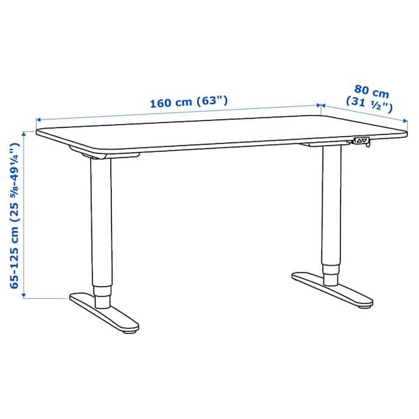 BEKANT Schreibtisch sitz/steh Eichenfurnier weiß lasiert/schwarz 160 cm 80 cm 65 cm 125 cm 70 kg