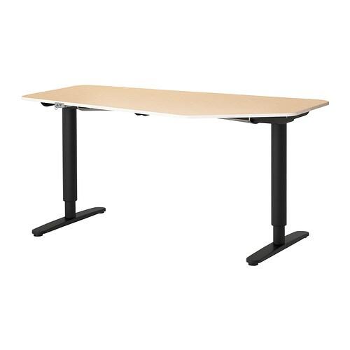 bekant schreibtisch 5eck sitz steh birkenfurnier schwarz. Black Bedroom Furniture Sets. Home Design Ideas