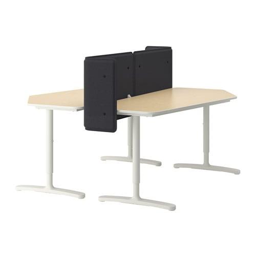bekant schreibtisch mit abschirmung birkenfurnier wei ikea. Black Bedroom Furniture Sets. Home Design Ideas