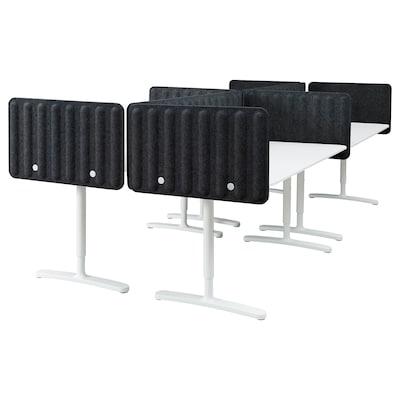 BEKANT Schreibtisch mit Abschirmung, weiß/dunkelgrau, 320x160 48 cm