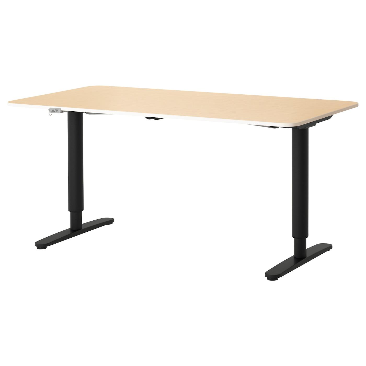BEKANT, Schreibtisch sitz/steh, Birkenfurnier, schwarz 690.225.23