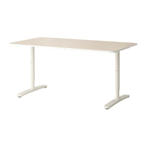 BEKANT Schreibtisch - Birkenfurnier/weiß - IKEA
