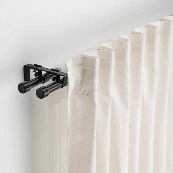 BEKRÄFTA Gardinenstangen-Set doppelt, schwarz, 120-210 cm 19 mm