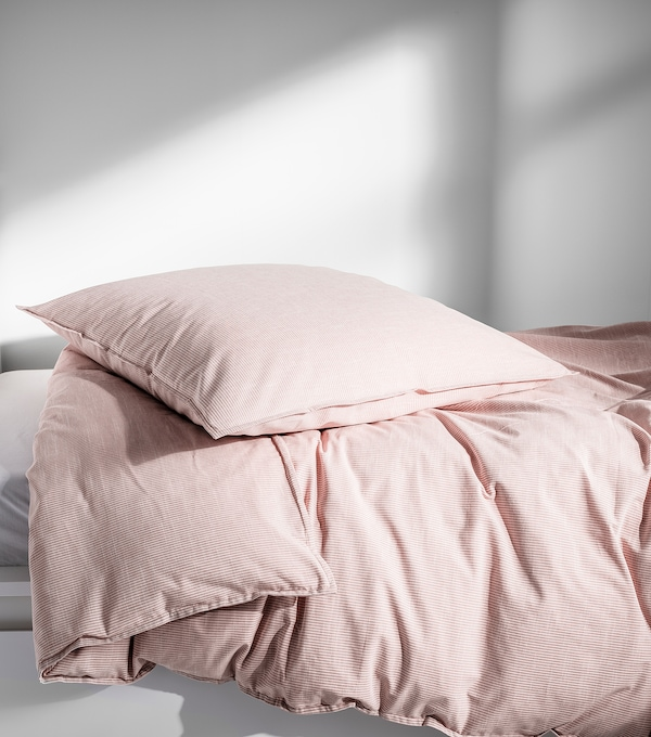 BERGPALM Bettwäsche-Set, 2-teilig, rosa/Streifen, 140x200/80x80 cm