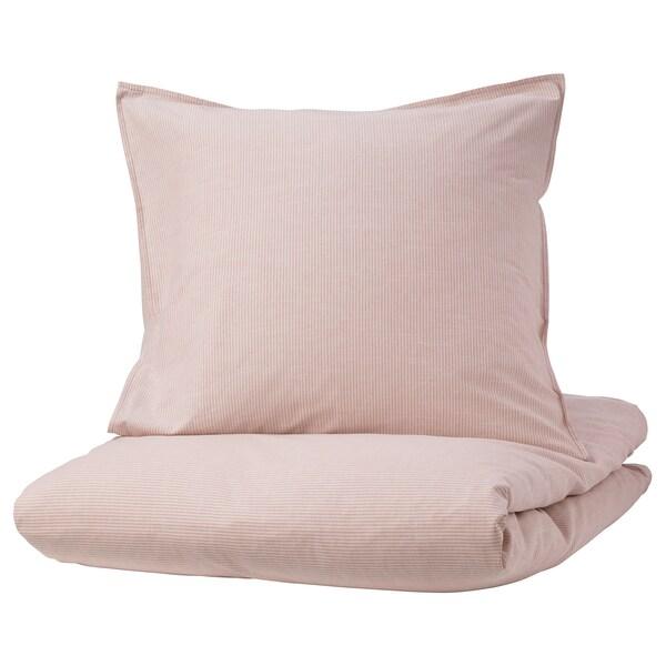 BERGPALM Bettwäscheset, 2-teilig, rosa/Streifen, 155x220/80x80 cm