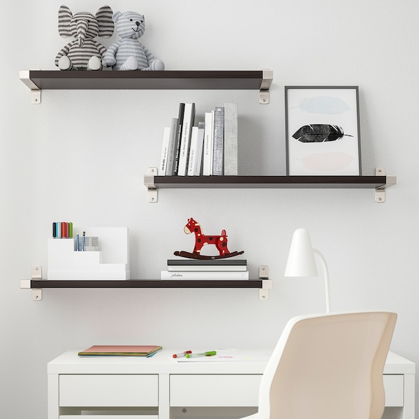 BERGSHULT / GRANHULT Wandregalkombination, braunschwarz/vernickelt, 80x20 cm