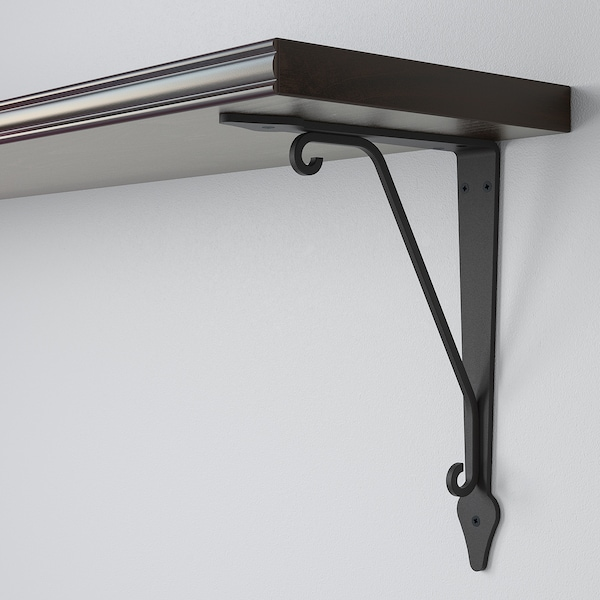BERGSHULT / KROKSHULT Wandregal, braunschwarz/anthrazit, 80x20 cm