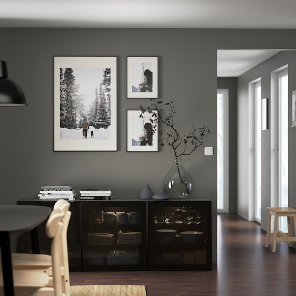 BESTÅ Aufbewahrung mit Türen, schwarzbraun/Glassvik schwarz/Rauchglas, 180x42x65 cm