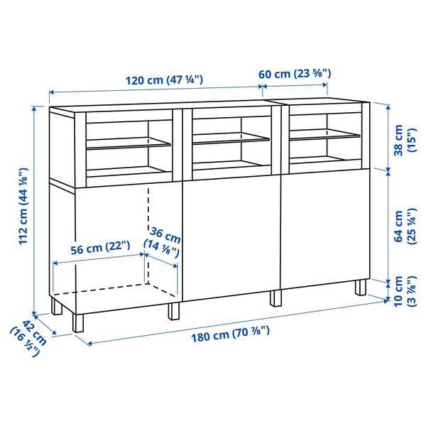 BESTÅ Aufbewahrung mit Türen, weiß Lappviken/Sindvik Klarglas weiß, 180x42x112 cm