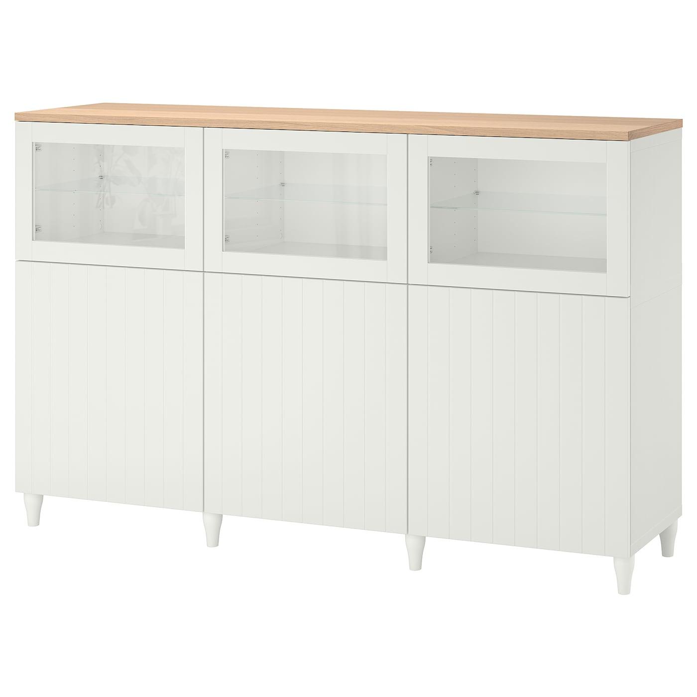 IKEA BESTÅ Aufbewahrung mit türen Weiß/sutterviken/kabbarp klarglas weiß weiß/Sutterviken/Kabbarp Klarglas weiß 180x42x114 cm | Wohnzimmer > Schränke | IKEA