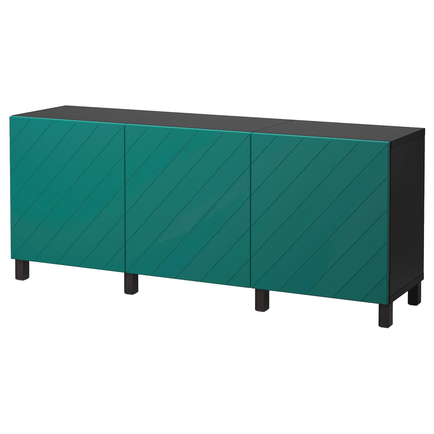 BESTÅ, Aufbewahrung mit Türen, schwarzbraun, blaugrün 192.059.78