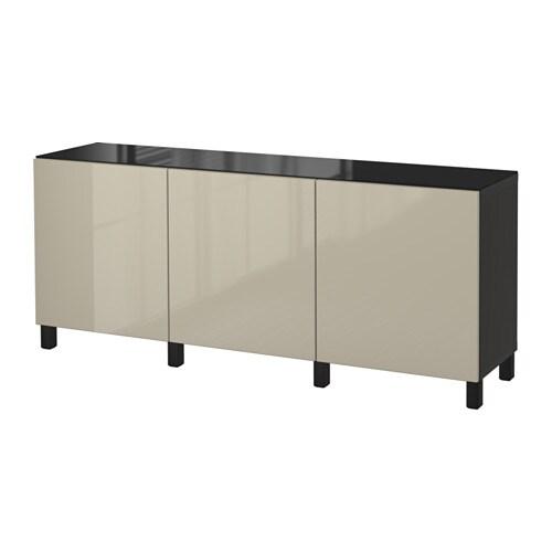 Ikea Besta Türen bestå aufbewahrung mit türen schwarzbraun selsviken hochglanz