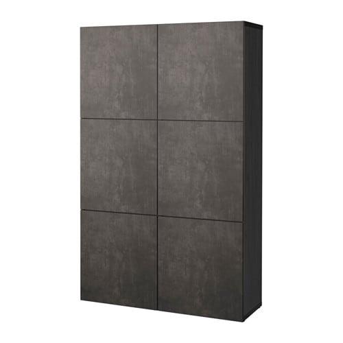 Ikea Besta Türen bestå aufbewahrung mit türen schwarzbraun kallviken dunkelgrau