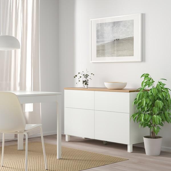 BESTÅ Aufbewkomb.+Türen/Schubladen, weiß/Lappviken/Stubbarp weiß, 120x42x76 cm