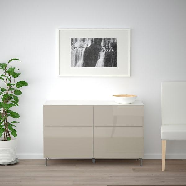 BESTÅ Aufbewkomb.+Türen/Schubladen, weiß/Selsviken/Stallarp Hochglanz beige, 120x40x74 cm