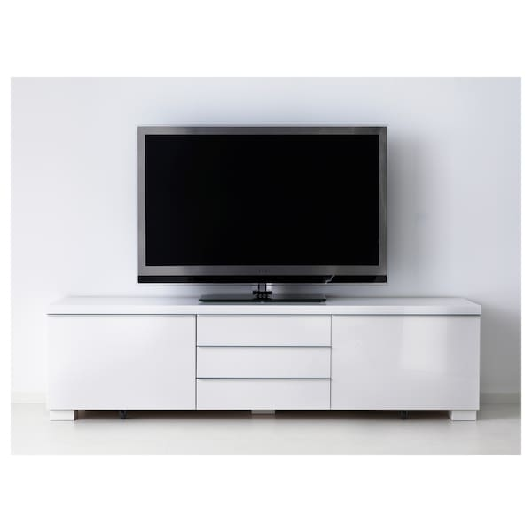 BESTÅ BURS TV-Bank Hochglanz weiß 180 cm 41 cm 49 cm 100 kg
