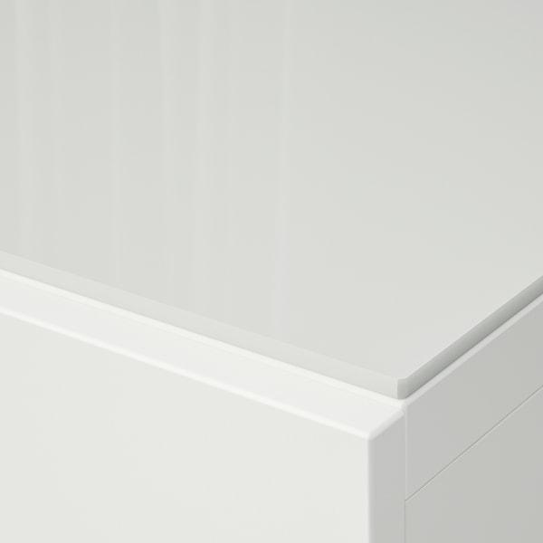 BESTÅ Deckplatte, Glas weiß, 180x40 cm