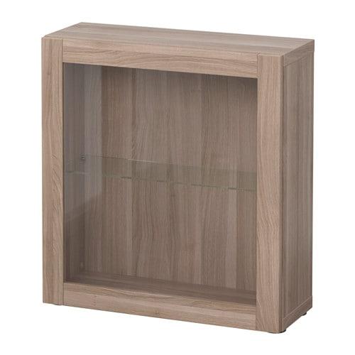 best regal mit glast r sindvik grau las nussbaumnachb. Black Bedroom Furniture Sets. Home Design Ideas