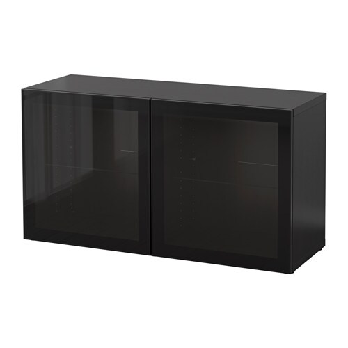 best regal mit glast ren schwarzbraun glassvik schwarz. Black Bedroom Furniture Sets. Home Design Ideas