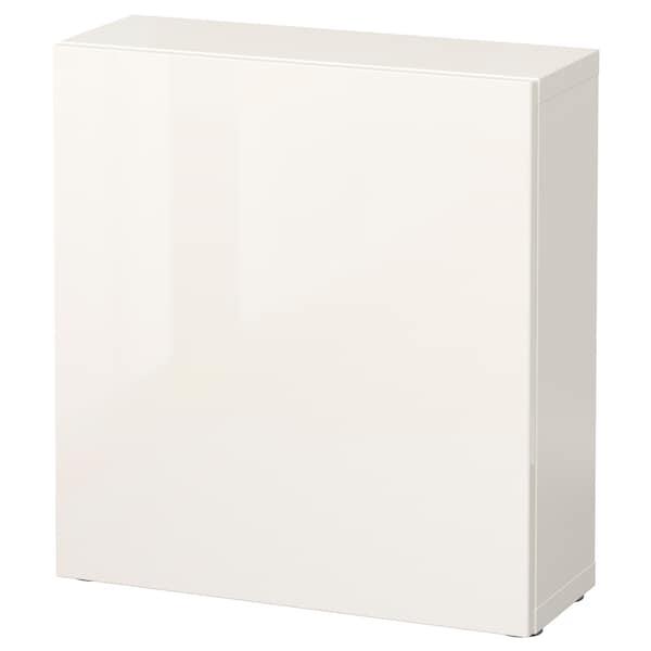 BESTÅ Regal mit Tür, weiß/Selsviken Hochglanz/weiß, 60x22x64 cm