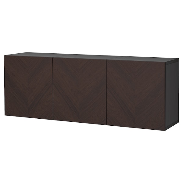 BESTÅ Schrankkombination für Wandmontage, schwarzbraun Hedeviken/dunkelbraun gebeiztes Eichenfurnier, 180x42x64 cm