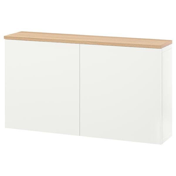 BESTÅ Schrankkombination für Wandmontage, weiß Lappviken/Eichenfurnier, 120x22x66 cm