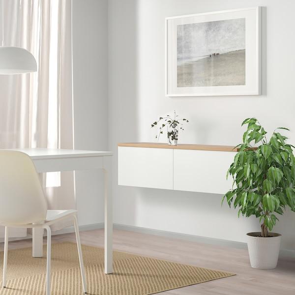BESTÅ Schrankkombination für Wandmontage, weiß Lappviken/Eichenfurnier, 120x22x40 cm