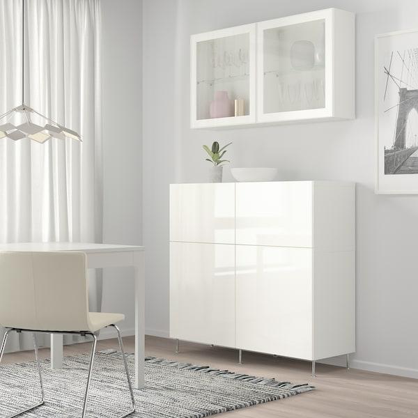 BESTÅ Aufbewkomb.+Türen/Schubladen weiß/Selsviken/Stallarp Hochglanz/Klarglas weiß 120 cm 42 cm 240 cm