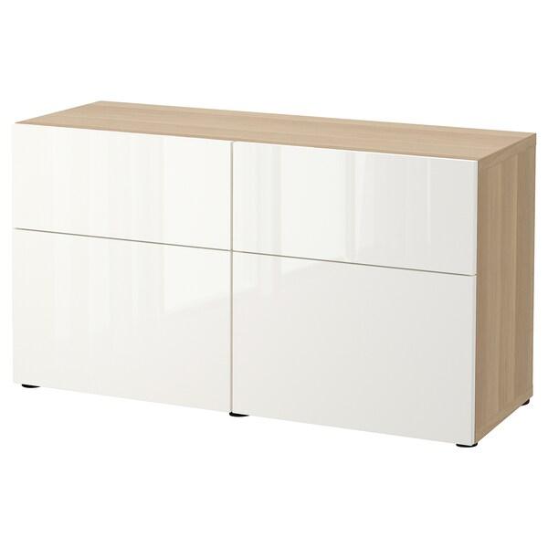 BESTÅ Aufbewkomb.+Türen/Schubladen Eicheneff wlas/Selsviken Hochglanz/weiß 120 cm 42 cm 65 cm