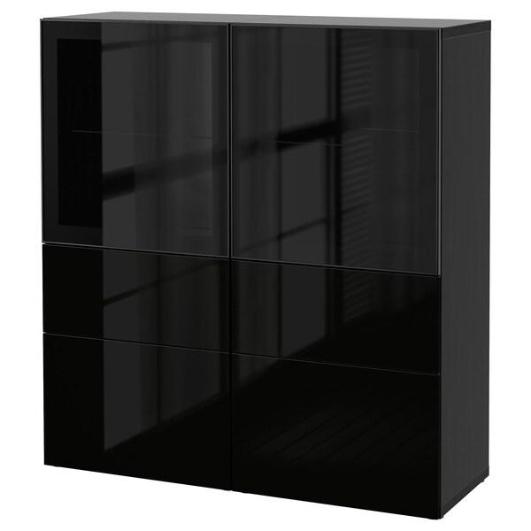 BESTÅ Vitrine schwarzbraun/Selsviken Hochglanz/Klarglas schwarz 120 cm 40 cm 128 cm