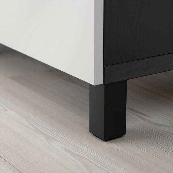 BESTÅ Aufbewahrung mit Türen schwarzbraun/Lappviken hellgrau 120 cm 40 cm 74 cm