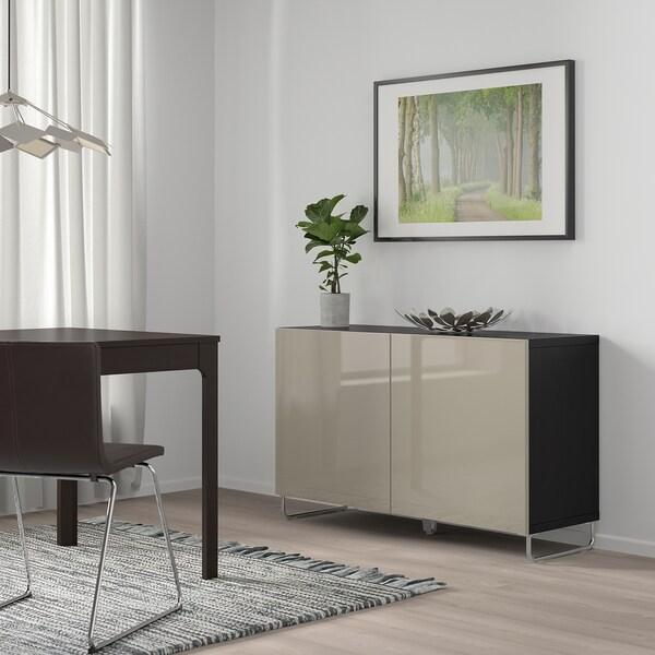 BESTÅ Aufbewahrung mit Türen schwarzbraun/Selsviken/Sularp Hochglanz beige 120 cm 40 cm 74 cm