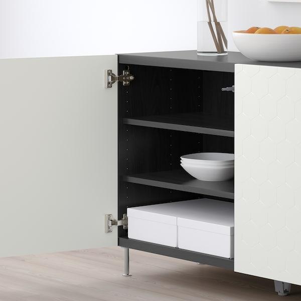 BESTÅ Aufbewahrung mit Türen schwarzbraun/Vassviken/Stallarp weiß 120 cm 40 cm 74 cm