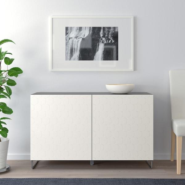 BESTÅ Aufbewahrung mit Türen schwarzbraun/Vassviken/Sularp weiß 120 cm 40 cm 74 cm