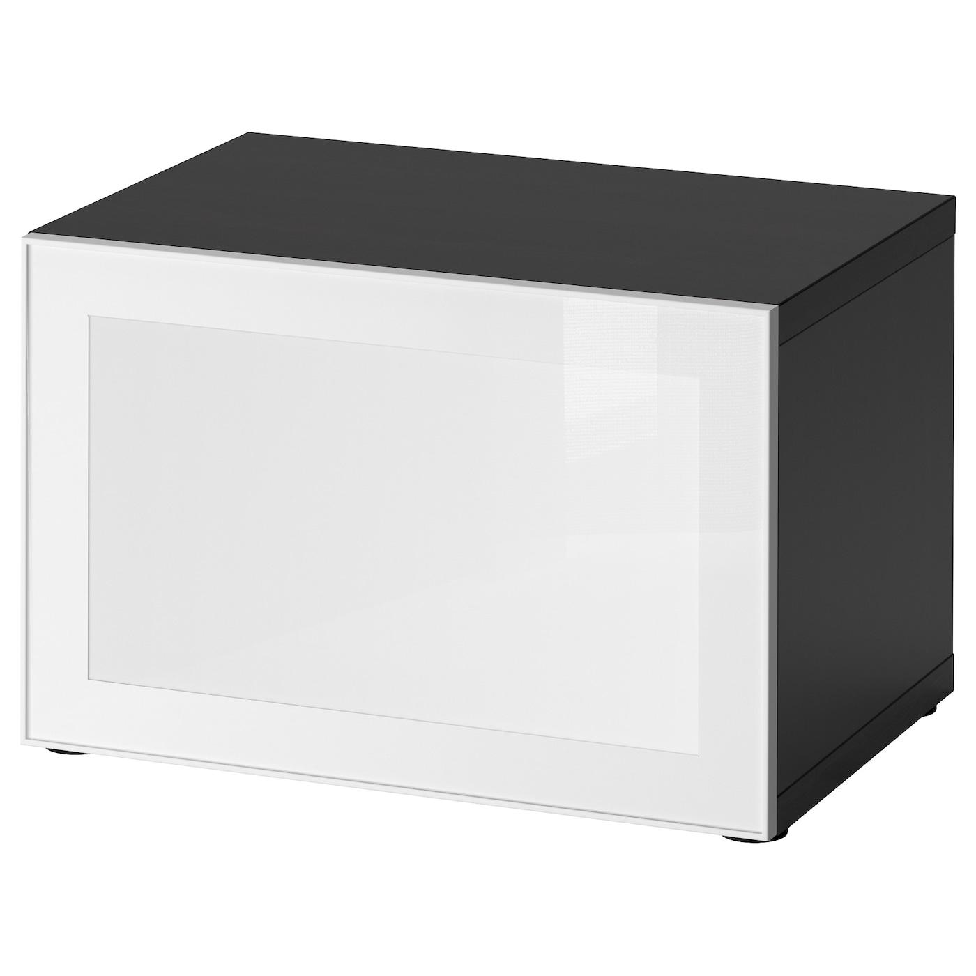 BESTÅ / SURTE, Regal mit LED-Tür, schwarzbraun, weiß 891.931.42