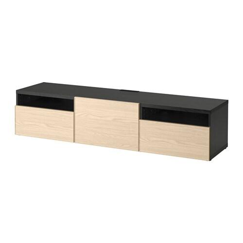 best tv bank schwarzbraun inviken eschenfurnier schubladenschiene sanft schlie end ikea. Black Bedroom Furniture Sets. Home Design Ideas