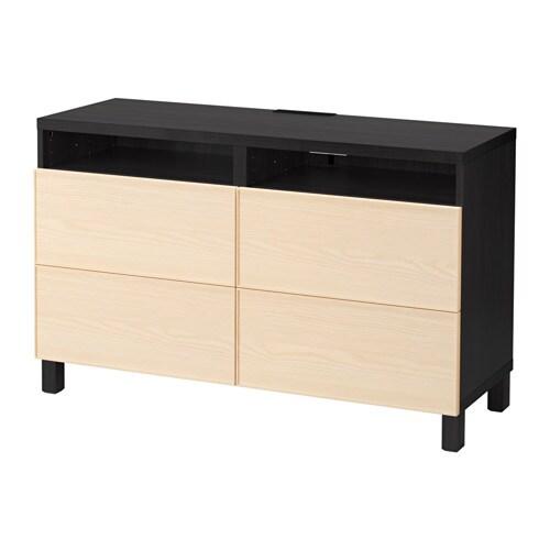 best tv bank mit schubladen schwarzbraun inviken eschenfurnier schubladenschiene sanft. Black Bedroom Furniture Sets. Home Design Ideas