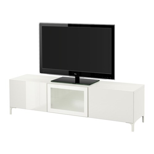 best tv bank mit schubladen und t r wei selsviken hochglanz frostglas wei. Black Bedroom Furniture Sets. Home Design Ideas