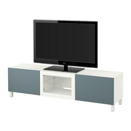 best tv bank mit schubladen und t r wei valviken klargl gra t rk schubladenschiene. Black Bedroom Furniture Sets. Home Design Ideas