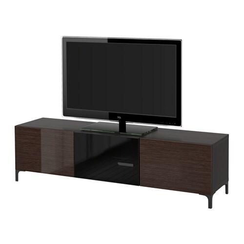 best tv bank mit schubladen und t r schwarzbraun selsviken hochglanz rauchglas braun. Black Bedroom Furniture Sets. Home Design Ideas