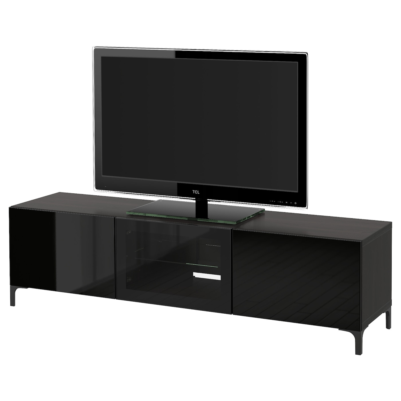 best tv bank mit schubladen und t r schwarzbraun 091. Black Bedroom Furniture Sets. Home Design Ideas