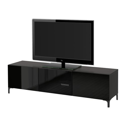 tv bank mit schubladen und t r schwarzbraun selsviken hochglanz. Black Bedroom Furniture Sets. Home Design Ideas
