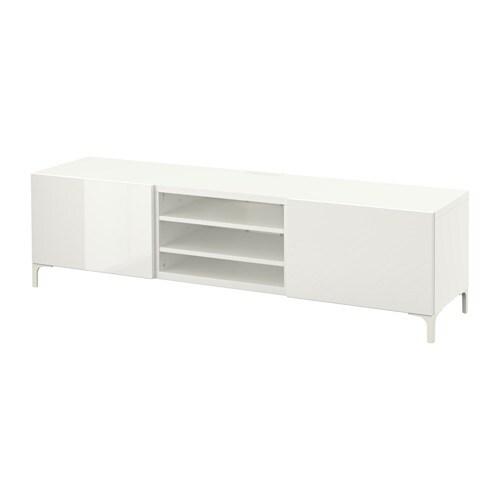 Ikea Besta Tv Bank Mit Schubladen Weiss Selsviken Hochglanz Weiss