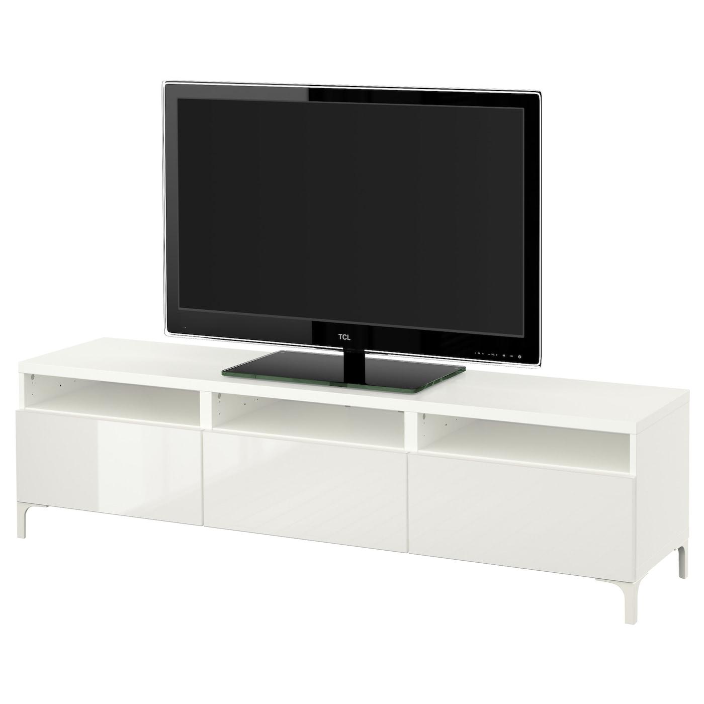 BESTÅ, TV-Bank mit Schubladen, weiß 491.930.02