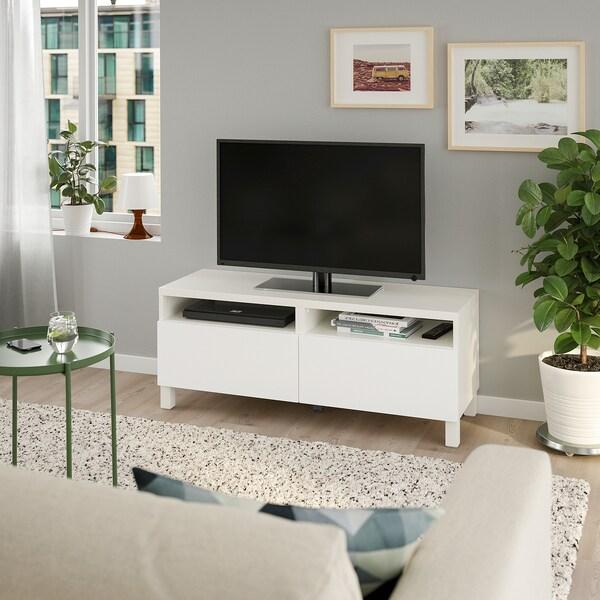 BESTÅ TV-Bank mit Schubladen, weiß/Lappviken/Stubbarp weiß, 120x42x48 cm