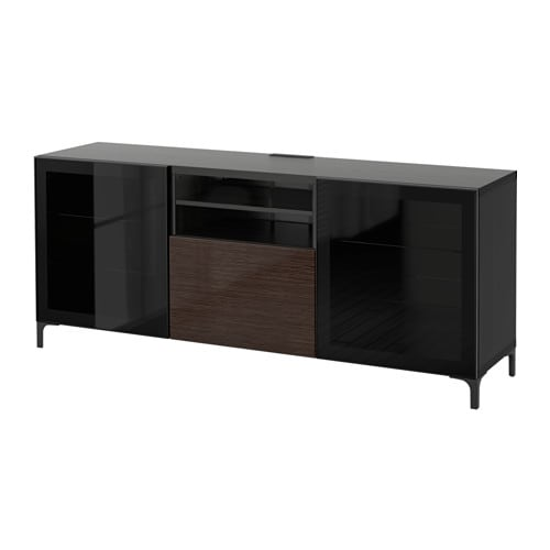 best tv bank mit schubladen schwarzbraun selsviken hochglanz klarglas braun. Black Bedroom Furniture Sets. Home Design Ideas