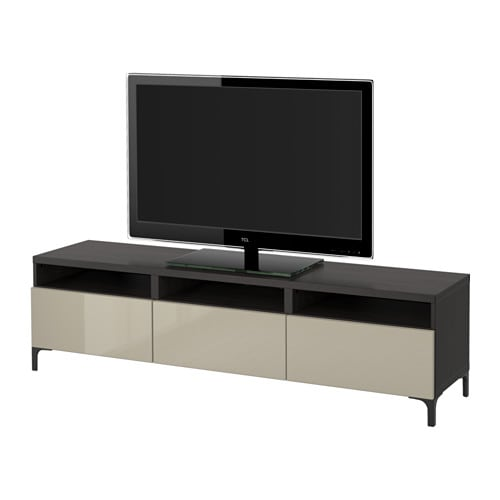 best tv bank mit schubladen schwarzbraun selsviken hochglanz beige. Black Bedroom Furniture Sets. Home Design Ideas