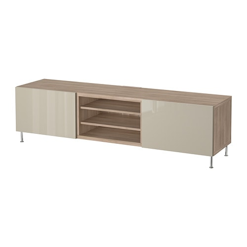 best tv bank mit schubladen grau las nussbaumnachb selsviken stallarp hochglanz beige. Black Bedroom Furniture Sets. Home Design Ideas