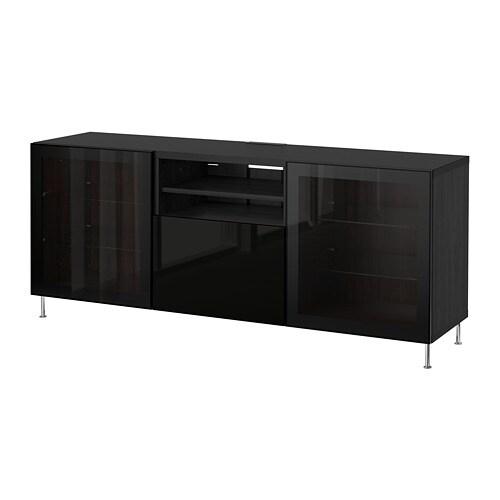 best tv bank mit schubladen schwarzbraun selsviken stallarp hochglanz klarglas schwarz. Black Bedroom Furniture Sets. Home Design Ideas